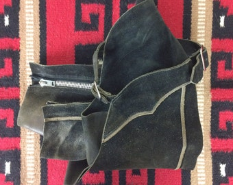 Black Leather Chaps- Vintage Child Cowboy Costume