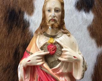 Jesus Statue - Large Chalkware Vintage Christ