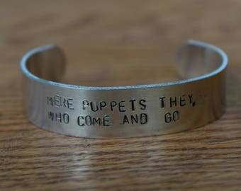 "Edgar Allan Poe - The Conqueror Worm Metal Stamped Poetry Quote Cuff Bracelet - ""Mere puppets they, who come and go"" - literary jewelry"