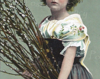 Lovely Real Photo Postcard, Young Girl with Pussywillows, Easter, Spring, Instant Digital Download, Printable Image