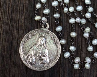 Antique French Sacred Heart of Jesus Necklace, Wire Wrapped Pearl Chain, Penin Medal