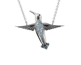 Hummingbird necklace with blue and white diamonds, white gold, unique, hummingbird pendant, blue diamond necklace, diamond, bird pendant