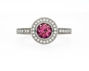 Pink Tourmaline halo engagement ring, white gold ring, pink tourmaline, bezel, tourmaline engagement, diamond ring, rose gold
