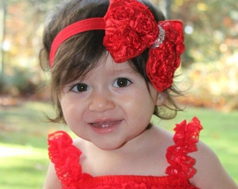 Christmas Bow Headband. Red Baby Bow Headband. Christmas Red Headband. Baby Headband. Newborn Headband. Girl Headband. Adult Headband.