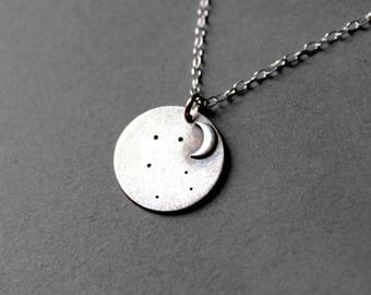 Fine Silver Constellation Moon Personalized Necklace - Moon Star Necklace - Constellation Jewelry - Custom Constellation Necklace