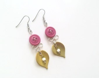 50% OFF - Botanical earrings - Recycled button jewelry - Pink and yellow leaf jewelry - Stainless Steel - Made in Quebec