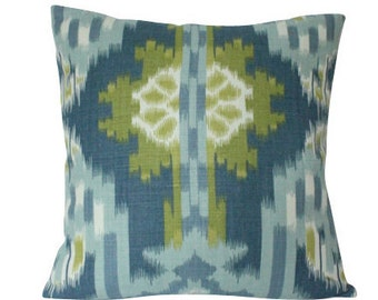 Blue and Green Kiribati Ikat Print Designer Schumacher Pillow Cover
