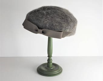 Ladies Winter Hat, Vintage Gray Wool Hat, 1960s Henry Pollak Mahara Hat, Tam Style Hat, Wearable Vintage Hat, Wool and Mohair Hat