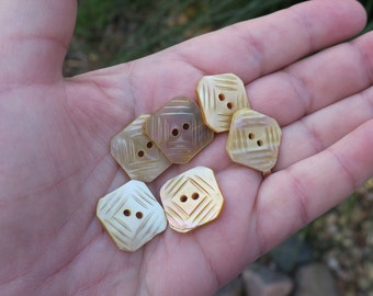 Set of 6 Vintage Carved Mother of Pearl Buttons