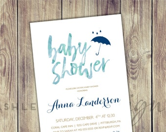 Baby Shower Invitation Boy, Watercolor, Baby Shower Decorations, Sprinkle, Calligraphy, Umbrella, Navy, Blue, Simple