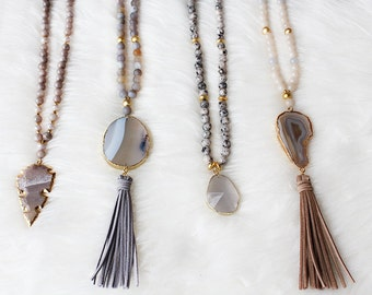 Beaded Agate Slice Tassel Necklace - Long - Boho Jewelry - Boho Necklace - Tassel Necklace - Agate - Druzy Necklace - Arrowhead - Beaded