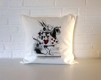 Alice in Wonderland pillow -  throw pillow cover - 16x16 inch -  Off white Pillow- Cushion Alice in Wonderland cushion - White Rabbit