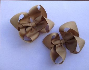 Ready to Ship Khaki Pigtail Boutique Hair Bows
