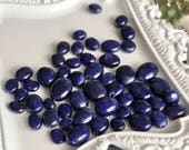 blue sapphire gemstone beads smooth oval polished mixed sizes small medium large center drilled jewelry supply, lot of 5 pcs