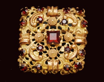 Gold Etruscan red rhinestone   Brooch -  Signed Austria - Garnet Glass - Square  box shape