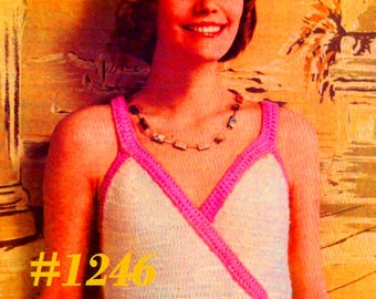 A Best Vintage 1970s Mod Surplice Halter Top #1246 PDF Digital Crochet Pattern