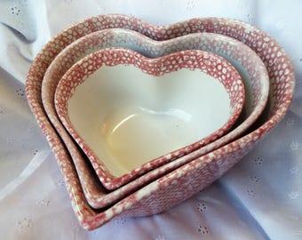 Pink Spongeware Heart Nesting Bowls from ABC Distributing