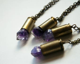 Raw Amethyst Crystal Bullet Necklace // Amethyst Point 380 Auto or 9mm Luger Brass Bullet Shell Necklace