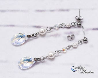 Earring,Wedding, pearl earring, white pearl, Swarovski crystal, stainless steel,pear shape, pearl