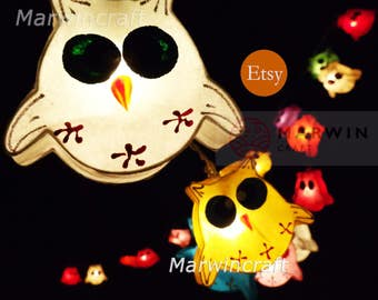 LED Battery Powered 20 OWL Lantern Paper Fairy String Lights Cute Baby Party Patio Wedding Floor Table Hanging Gift for her Home Decor