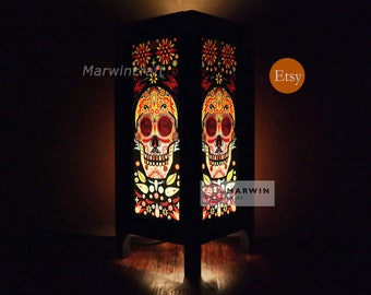 Asian Oriental Japanese Sugar Skull Punk Rock Art Party Wood Floor Table Lamp Desk Paper Night Light Shades Livingroom Bedside Home Decor