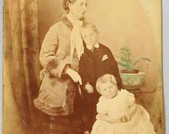 Victorian post mortem photograph Momento mori Mother and son Dead boy Family group Mourning photo Sepia tone Hand painted