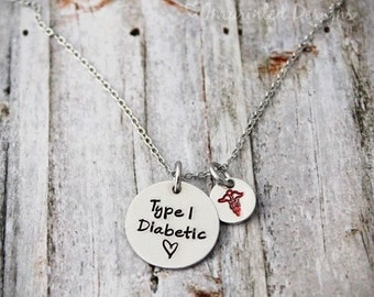 Medical Alert Necklace - Diabetic - Hand Stamped - Non Tarnish - Type 1 Diabetic - Personalized Necklace - Caduceus