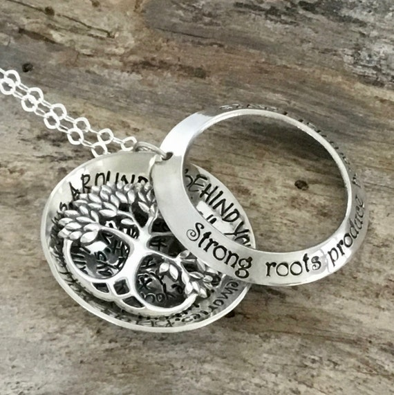 Family Tree Mothers Necklace - Leafy Tree of Life - Layered Locket - Family Name Necklace - Strong roots produce beautiful leaves