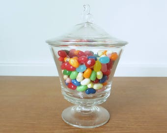 Clear glass pedestal candy bowl with lid, lidded glass candy dish