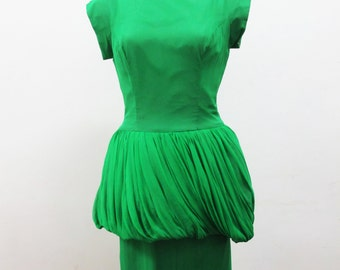 1950s Emerald Green Dress with Fantastic Peplum Silk Charmeuse