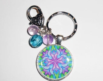 Colorful Mandala Purse Charm, Zipper Pull, Fractal Art Pendant,  Key Chain, Backpack Charm, Womens Accessories, Gifts for Her