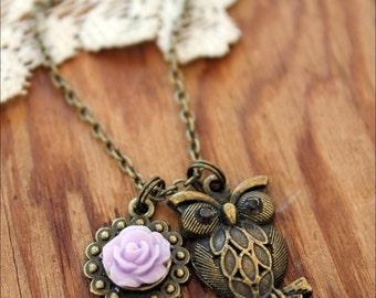 Owl Necklace, Owl Jewelry, Brass Owl Necklace, Flower Necklace, Owl Charm, Necklace