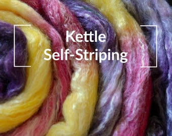 Kettle Self-Striping - Kettle Dyed Hand painted Spinning Fiber Tutorial