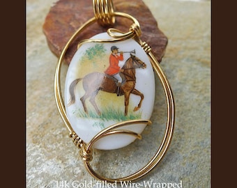 Horse Pendant, Gold Wire-Wrapped Hunter on Horseback Vintage Cameo Pendant, 14k GF Horse Jewelry
