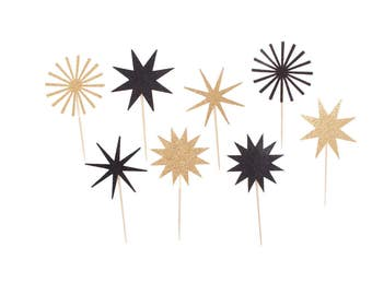 Black and Gold Graduation Cupcake Toppers / Black and Gold Cupcake Toppers / Black and Gold Star / Black and Gold Firework Starburst Cupcake