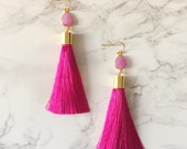 Magenta Tassel Drop Earrings - Pink Teardrop Druzy