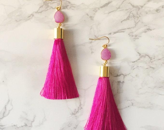 Magenta Tassel Drop Earrings - Pink Teardrop Druzy