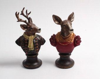 Deer and Doe Finial Decorations - Buck and Doe Cake Topper - Decorative Finials - Finials - Deer Decorations - Deer Figurine - Home Decor
