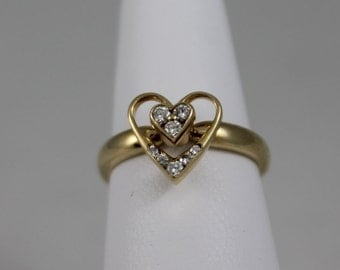 14K Yellow Gold Diamond Spinning Heart Ring