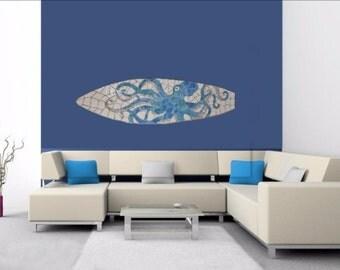 Octopus Art Mosaic Surfboard, Beach House Art Hang Vertical or Horizontal, Stained glass on wood 5ft Coastal art, Octopus Art, Sea Creature