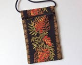 "Pouch Zip Bag Australian Native Flower Black Fabric.  Great for walkers, markets, travel. Cell Phone Pouch Grevillea floral purse. 7""x4.25"""