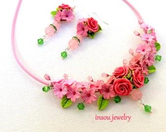 Pink Flower Jewelry, Dusty Pink, Wedding Jewelry, Rose Jewelry, Statement Necklace, Handmade Necklace Earrings Set, Bridal Jewelry Set