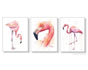 Flamingo Watercolor Art Flamingo Wall Art Print Set Flamingo Decor Pink Flamingo Tropical Decor Flamingo Portrait Fine Art - Set of 3 Prints