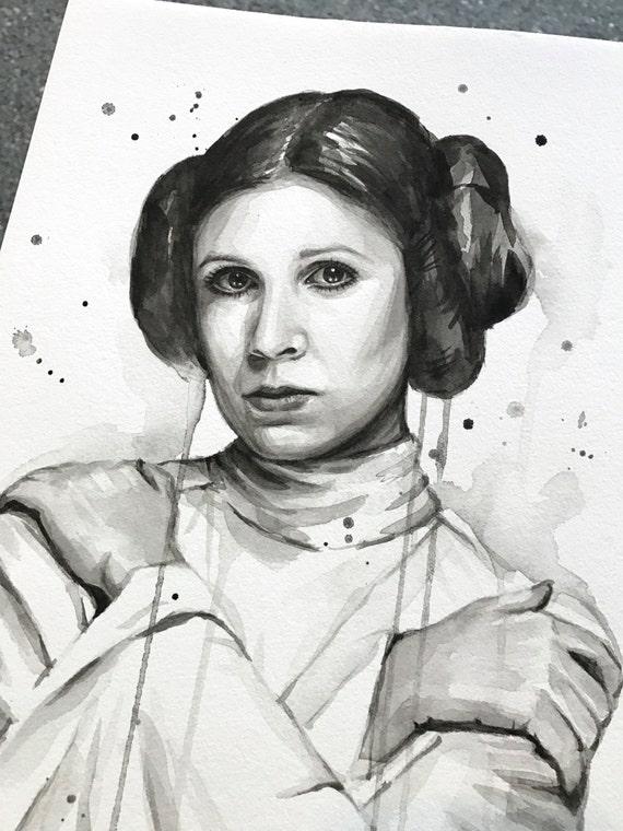 Princess Leia Watercolor Portrait, ORIGINAL Watercolor Painting, Carrie Fisher Painting,  Princess Leia Art, Leia Rebel, The Resistance