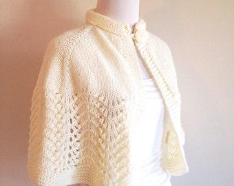 Vintage Handmade Ivory Cape or Capelet Cardigan Sweater Mid Century
