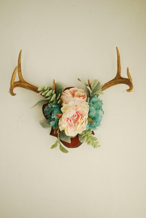 Real Vintage Floral Deer Antler Mount Taxidermy Wall Hanging