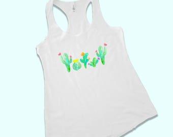 cactus shirt - cactus tank top - cactus t-shirt - cactus artwork - watercolor cactus - cactus watercolor - cactus tank - cactus bachelorette