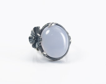 natural chalcedony ring, sterling silver gemstone chunky ring, flower decorated statement ring, blue gemstone jewelry, quality ring for her