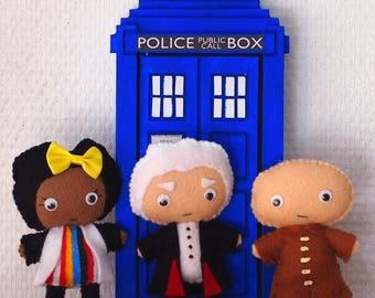 Doctor Who Inspired Felt Bendy Figures set of three - The Doctor, Bill & Nardole