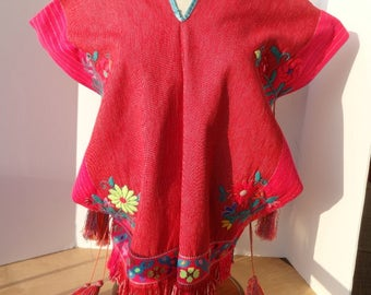Huipil Red Hand Woven w Embroidered Flowers Cotton Blouse Open sides w ties and Tassels Made in Guatemala Sparkle threads One of a Kind